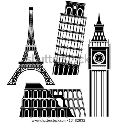 sights of the world series - Europe - stock vector