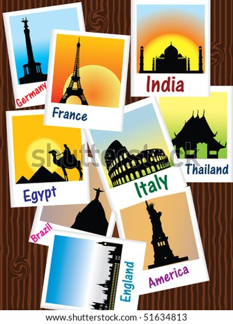 Sightseeing photos vector - stock vector