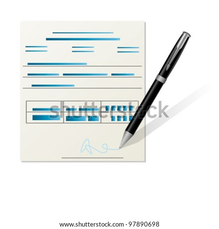 sign a document - stock vector