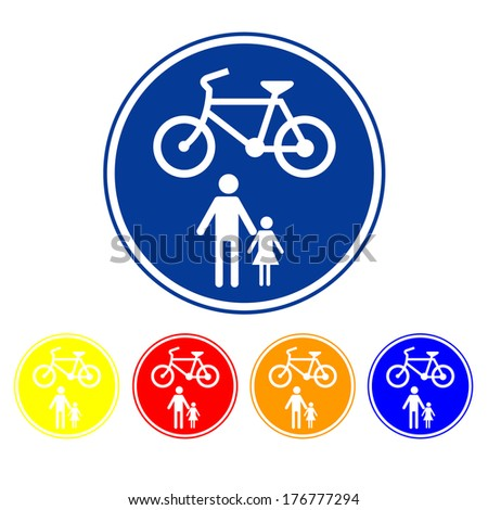 Sign allow only pedestrians and bicycles. - stock vector