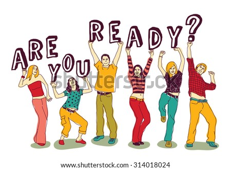 Sign and young happy people group isolate. Group of active happy people with sign  isolated on white. Vector illustration. EPS 8 - stock vector