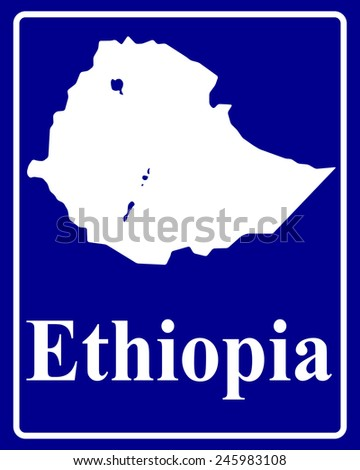 sign as a white silhouette map of Ethiopia with an inscription on a blue background - stock vector