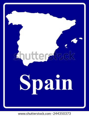 sign as a white silhouette map of Spain with an inscription on a blue background