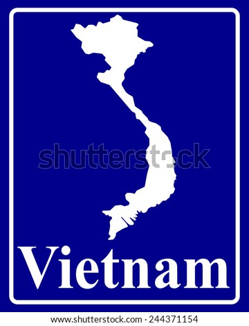 sign as a white silhouette map of Vietnam with an inscription on a blue background - stock vector