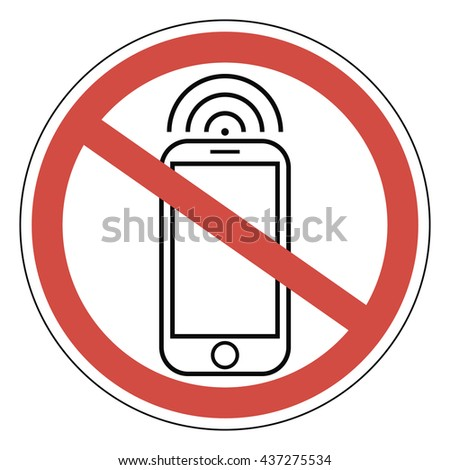 Sign ban prohibits mobile phone, smart phone, vector for print or website design