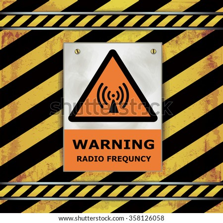 Sign caution blackboard warning radio frequency vector - stock vector