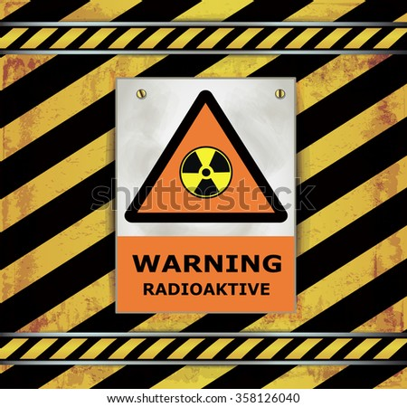 Sign caution blackboard warning radioactive vector - stock vector