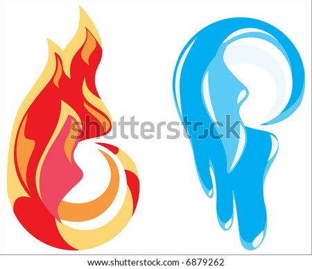 Sign - fire and ice - stock vector