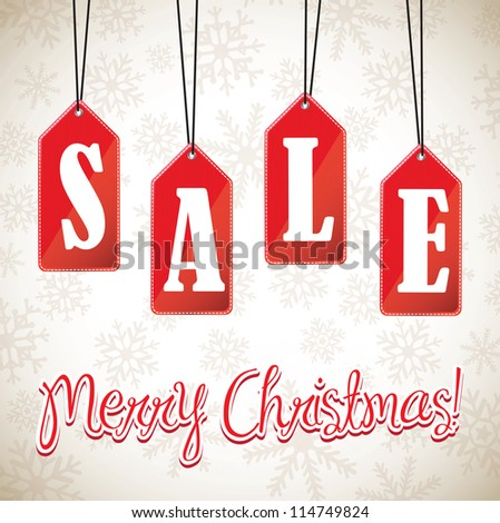 sign hanging sales christmas over white background - stock vector