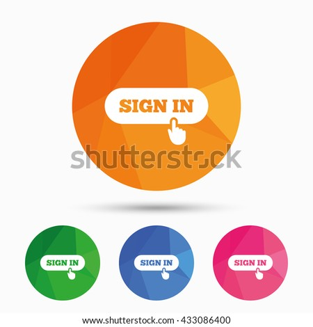 Sign in with hand pointer sign icon. Login symbol. Website navigation. Triangular low poly button with flat icon. Vector - stock vector