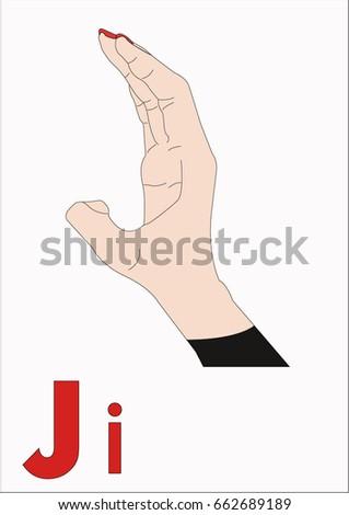 sign language alphabet the letter j