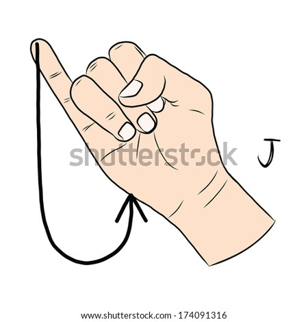 sign language and the alphabetthe letter j