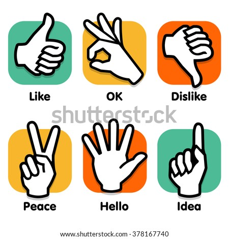 Sign Language. Signal hands logo. Hand sign. Signal fingers. Vector logo. Isolated icons set. Logos colllection. Hands logo. Hand logo. Red logo. Yellow logo. New logo. Best logo. Super logo. Logo set - stock vector