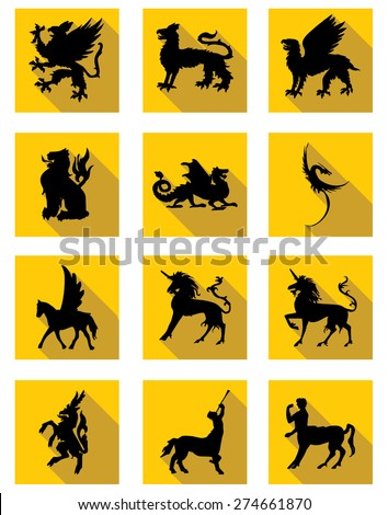 Sign Mythology of ancient creatures - stock vector