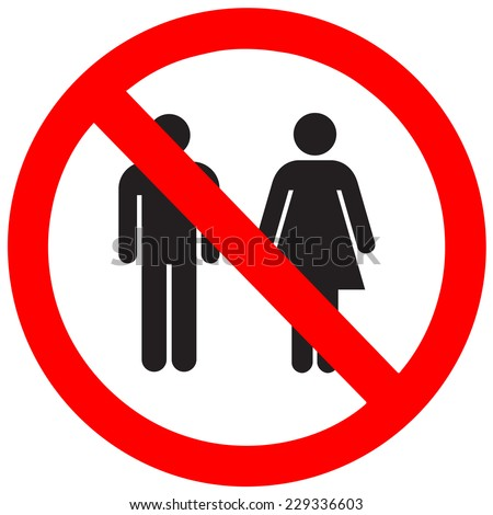 Sign no man and woman on a white background