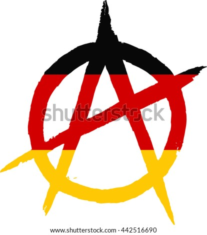 Sign of Anarchy painted Germany flag - stock vector