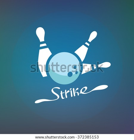 Sign of bowling club. Strike. skittle and ball
