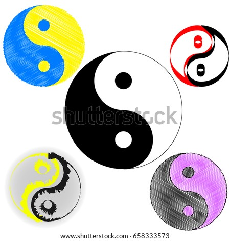 Sign Chinese Philosophy Symbol Confucianism Icons Stock Vector Hd