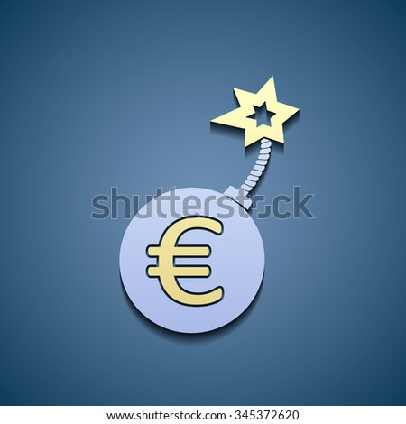 Sign of euro currency on a bomb. Stock vector illustration. - stock vector