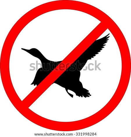 Sign of prohibited hunting on white background