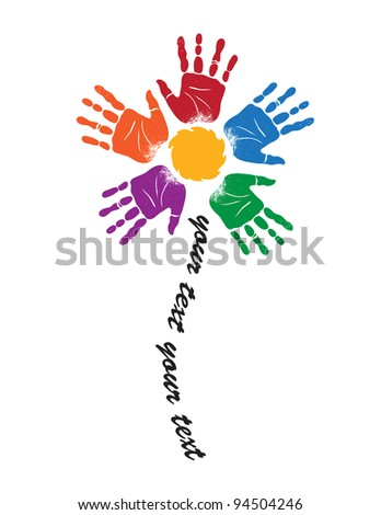Sign of silhouettes of palm prints in  form of flower on  stalk - stock vector