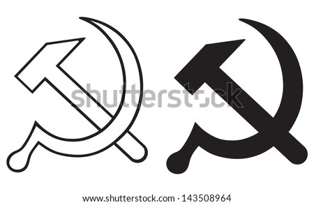 Sign of the hammer and sickle - stock vector