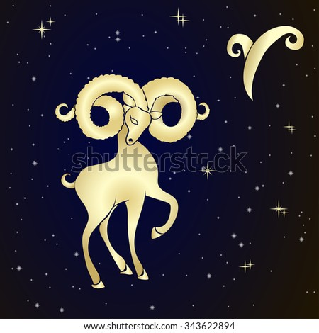 Sign of the zodiac Aries is the starry sky, vector Illustration.  Contour icon. - stock vector
