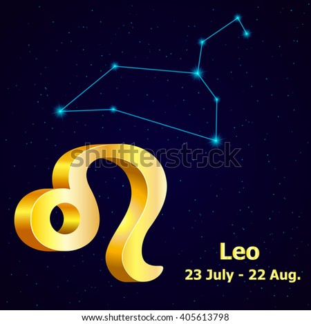 Sign of the zodiac Leo is the starry sky, vector Illustration. - stock vector