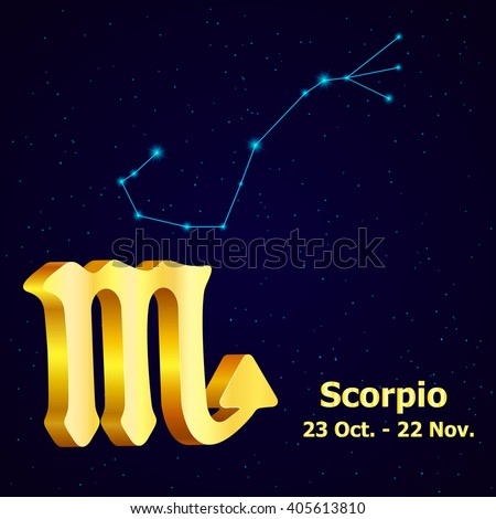 Sign of the zodiac Scorpio is the starry sky, vector Illustration. - stock vector