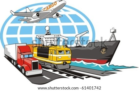 sign of transportation cargo on all type of the transport - stock vector