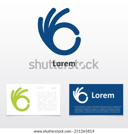 sign OK logo design business card - stock vector