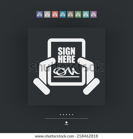 Sign on document - stock vector