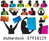 Sign people. Color set. Vector illustration - stock vector