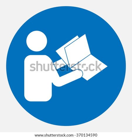 Sign , read the instructions before using on a blue background - Vector Graphics - stock vector