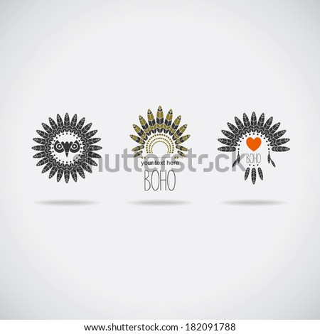 Sign set in Boho style - stock vector