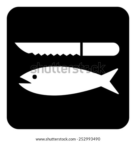 Sign sets - Fish and knife - stock vector