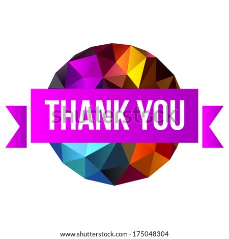 sign Thank You on abstract background - stock vector