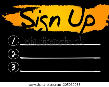 Sign Up Blank List, vector concept background - stock vector