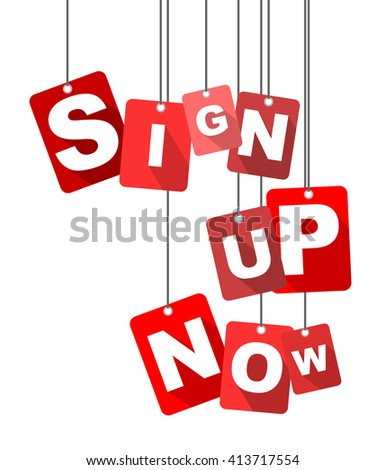 sign up now, red vector sign up now, red tag sign up now, flat vector sign up now, sign sign up now, design sign up now, illustration sign up now, background sign up now, element sign up now - stock vector