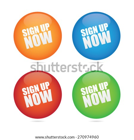 Sign Up Now Sphere Labels - stock vector