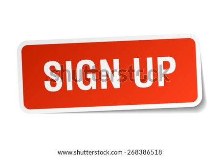 sign up red square sticker isolated on white