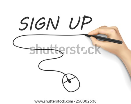 sign up words written by hand on white background - stock vector