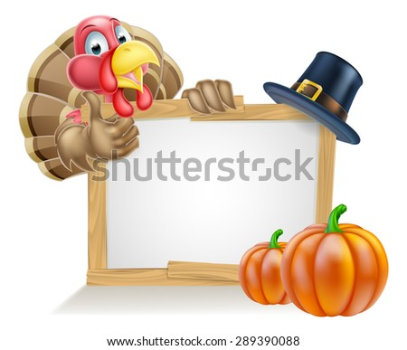 Sign with cartoon Thanksgiving turkey bird with a pilgrim or puritan thanksgiving hat and pumpkins - stock vector
