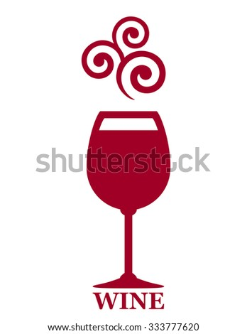 sign with goblet of red wine and grape decorative element - stock vector