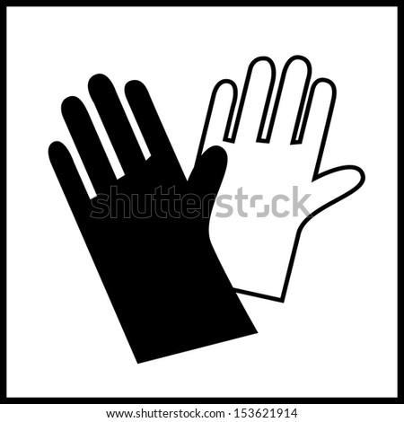 sign work gloves - stock vector