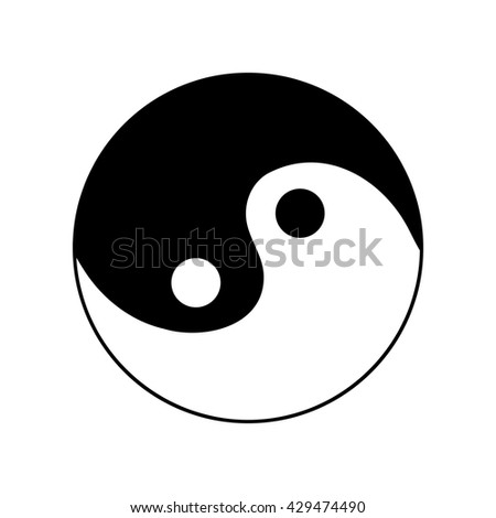 Sign yin and yang. Monochrome symbol of balance. Plane mark isolated on white background. Asian icon of harmony. Image concept of daoism. Stock vector illustration - stock vector
