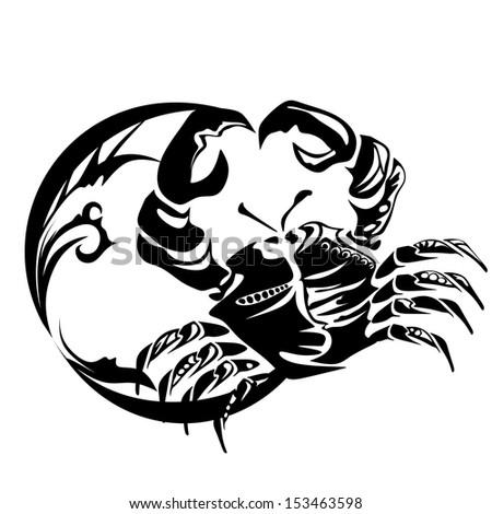 sign zodiac, crab, cancer - stock vector