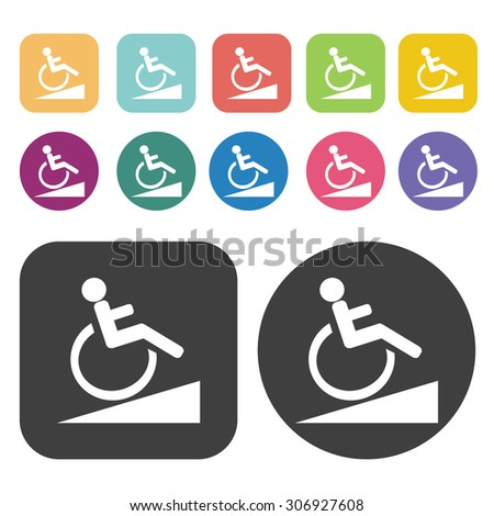 Signal ramps for the disabled slope icons set. Vector Illustration eps10 - stock vector