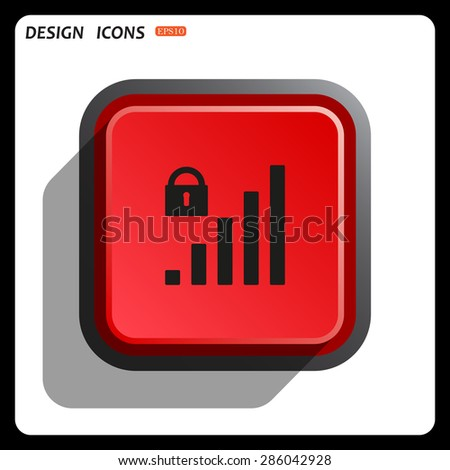 signal strength indicator, closed access. icon. vector design - stock vector