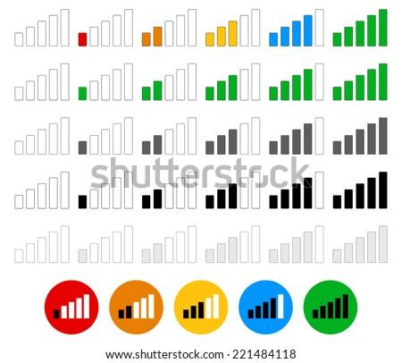 Signal strength indicator set - flat graphics - stock vector